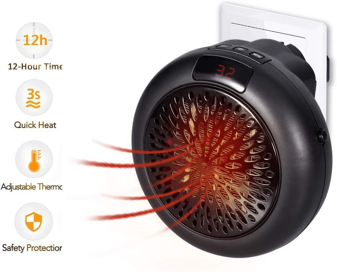 LOVNE Calefactor Eléctrico 600 W, 2 Velocidades Termostato Regulable, Ventilador Pequeño Estufa Electrica para Baño, Hogar, Oficina