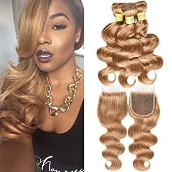 MY LIKE Women s Day Gifts for mom Brazilian Pure Color Honey Blonde 27 Sexy  Body Wave 136e91c80a