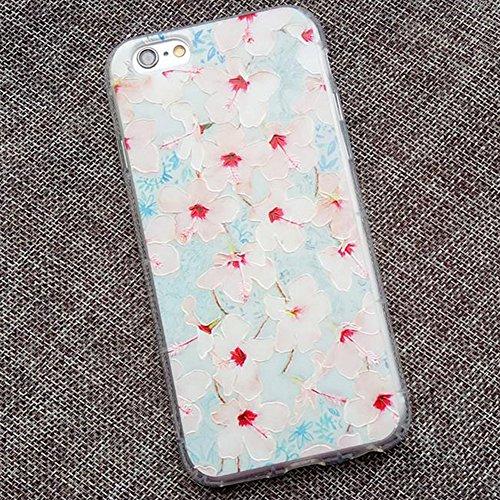 Qingsun Etui Housse Portable Apple iPhone 7, Cover Coque Couverture Etui pour Apple iPhone 7 Anti Choc Ultra Mince Motif Fleur Rose TPU Silicone Cover Ultra Léger pour Fille Femme