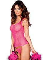 Be Wicked BW700HP Women's Hot Pink Fishnet Tank Top With Panty