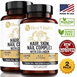BestVitality 2 Pack 100% All Natural Biotin Complex Hair, Skin & Nail Growth Supplement - Formula Contains Biotin, Vitamin E, B1 Thiamine, B2 Riboflavin, B5 Pantothenic Acid, Zinc, Copper and Collagen