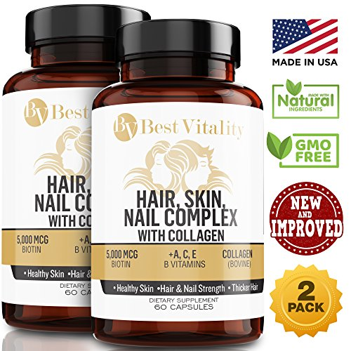 BestVitality 2 Pack 100% All Natural Biotin Complex Hair, Skin & Nail Growth Supplement – Formula Contains Biotin, Vitamin E, B1 Thiamine, B2 Riboflavin, B5 Pantothenic Acid, Zinc, Copper and Collagen
