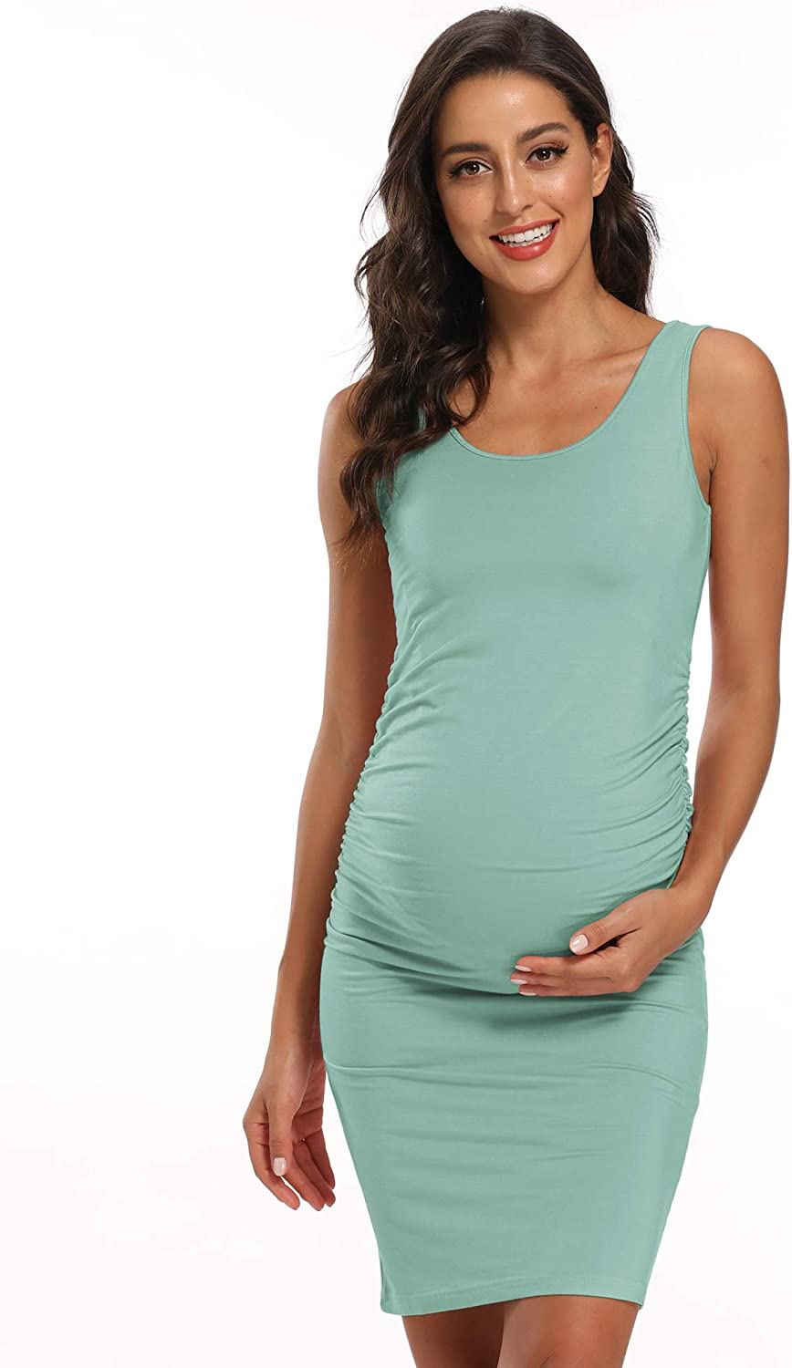 AMPOSH Womens Maternity Tank Dress Casual Ruched Bodycon Pregnancy Dress for Photoshoot and Daily Wear