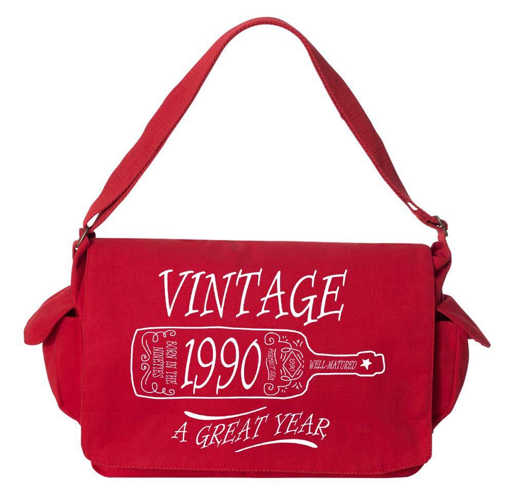 Tenacitee Aged Like a Fine Wine 1990 Maroon Brushed Canvas Messenger Bag