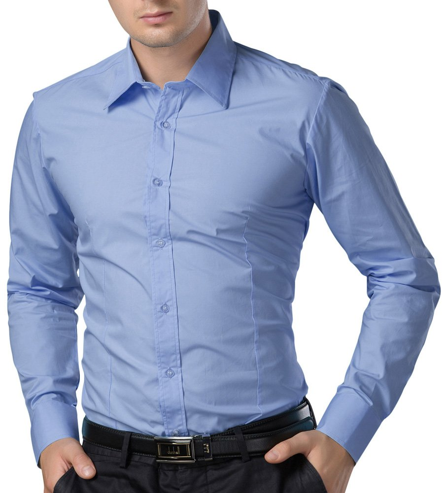 Paul Jones®Men's Shirt Formal Casual Shirt for Men Button Down (M) CL1044-5 Light Blue by Paul Jones®Men's Shirt (Image #4)