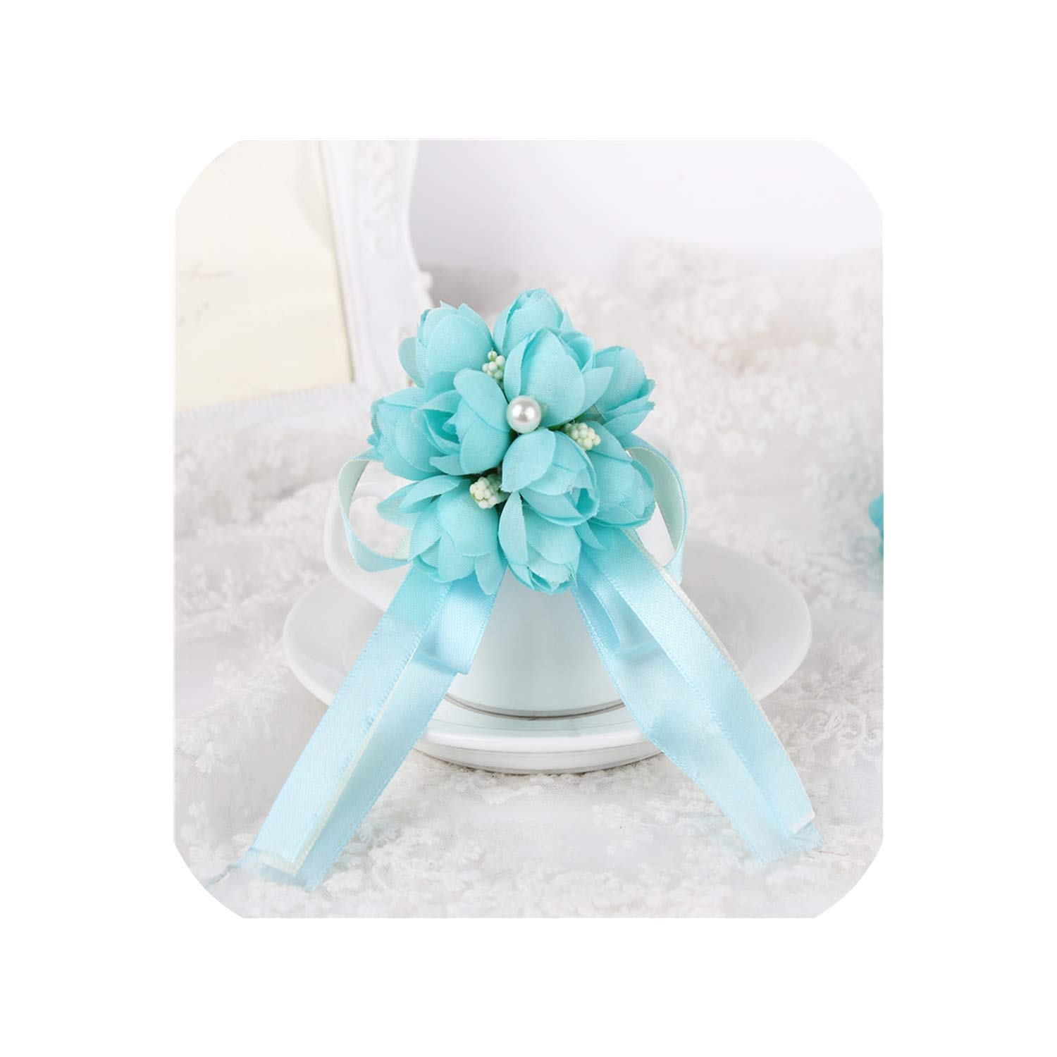 8034b2c77c Pink-star 10 Colors Rose Wrist Corsage Bridesmaid Sisters Hand Flowers  Artificial Bride Flowers for Wedding Party Decoration Bridal Prom,Tiffany  Blue
