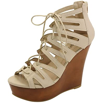 bef4eca0a465 Allegra K Woman Lace-up Cutout Open Toe Wedge Sandals (Size US 6)