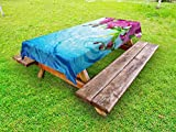 Lunarable Floral Outdoor Tablecloth, Vibrant Orchid Rippled Water Freshness Meditation Nature Inspirations, Decorative Washable Picnic Table Cloth, 58 X 120 inches, Fuchsia Aqua Blue Green