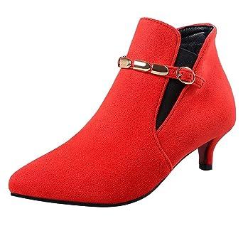 Tacón VINTAGE de ante para mujeres con redondeada en los botines boucle-sangle tacón para