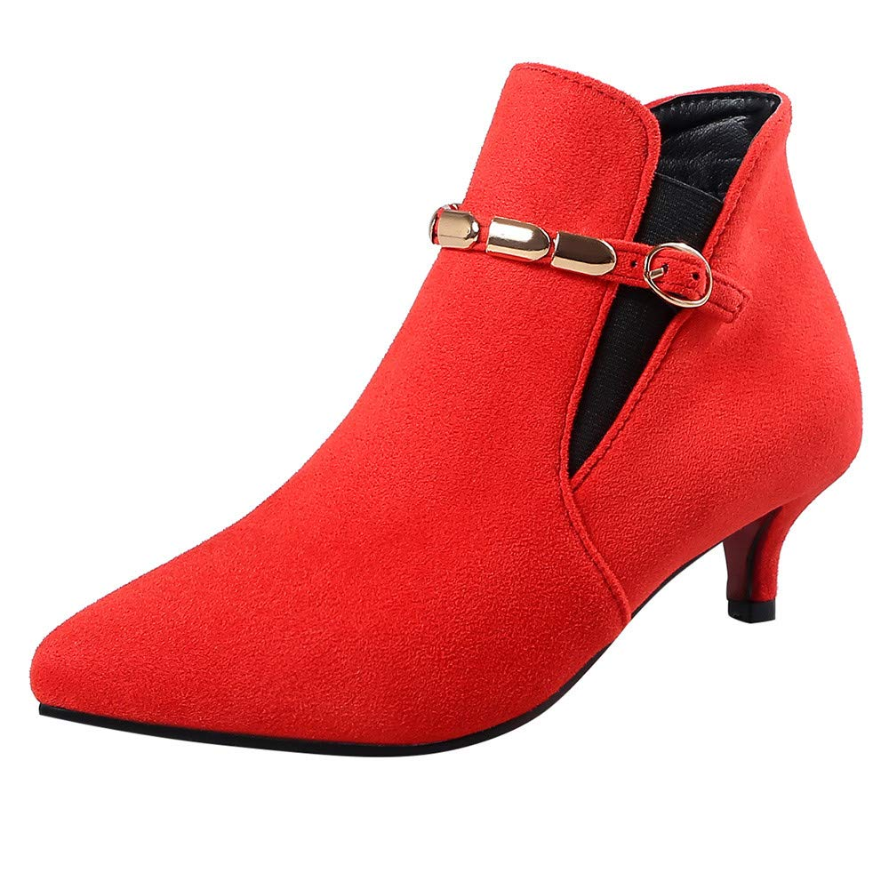 Hunzed Women Shoes Suede Pointed Low Heel Metal Chain Women's mid-Heel Booties For fall tall ankle boots riding boots with heel womens casual boots