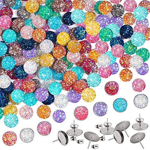 12mm Druzy Resin Cabochons, Kissbuty 120 Pcs 15 Colors Flat Back Dome Cabochons Faux Half Round Druzy Cabochonswith 8 Pcs Stainless Steel Stud Earring for Jewelry Making, DIY Craft (Shiny)