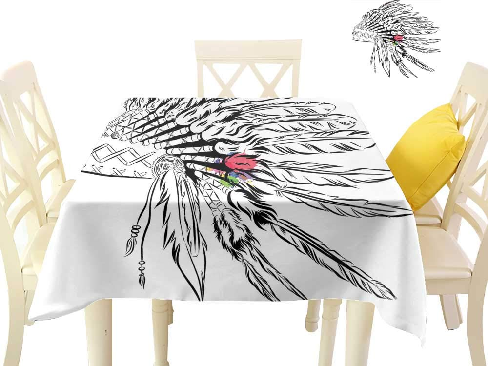 Angoueleven Feather,Dinning Tabletop Decoration Native American Headdress in Sketch Style with Color Splashes Primitive,Dining Table Decorations W 50'' x L 50''