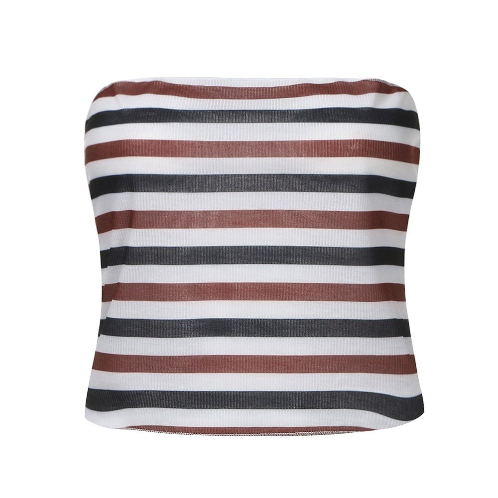 Eolgo 2019 Women's Summer Blouse Sexy Striped Tank Fashion Off Shoulder Shirt Tight Wrap Vest Tops(Red,M) by Eolgo (Image #2)