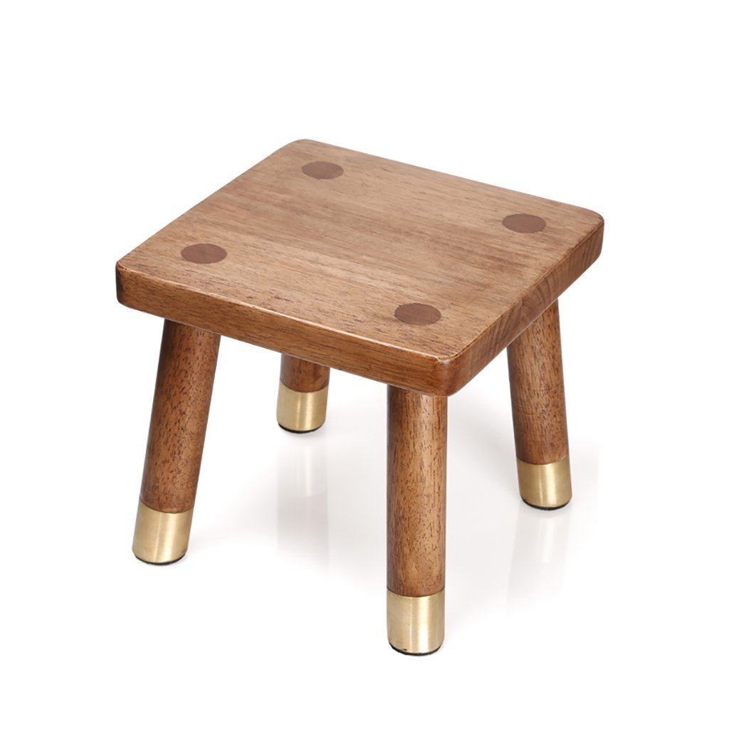 WENJUN Copper Wood Furniture Solid Wood Household Small Chair Fashion Change Shoe Bench Square Stool Bathroom Stool Rubber Wood Foot Washing Soaking feet Stool