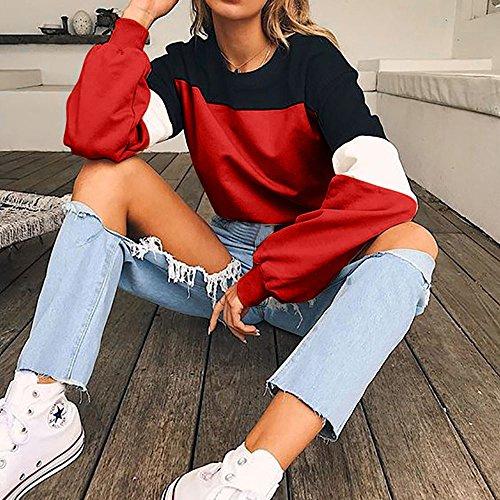 De Mejor Superior Moda Adolescentes Pullover Sudadera Chica Color Empalme Blusa Mujer Sudaderas Para Rojo Manga riou Tops Larga Venta 1HT1FZYWq