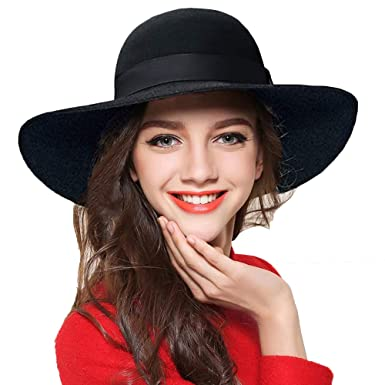 de124efb72849 ASSQI Women s Wool Felt Floppy Hat Fedora Wide Brim Cloche Vintage Bowler  Hat Foldable Black