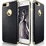iPhone 7 Plus Case, LOHASIC Slim Fit Carbon Fiber Luxury leather [Flexible & Soft] Shockproof TPU Electroplated Frame Anti-Slip Grip Protective Cases Cover for iPhone 7 Plus - Carbon Fiber
