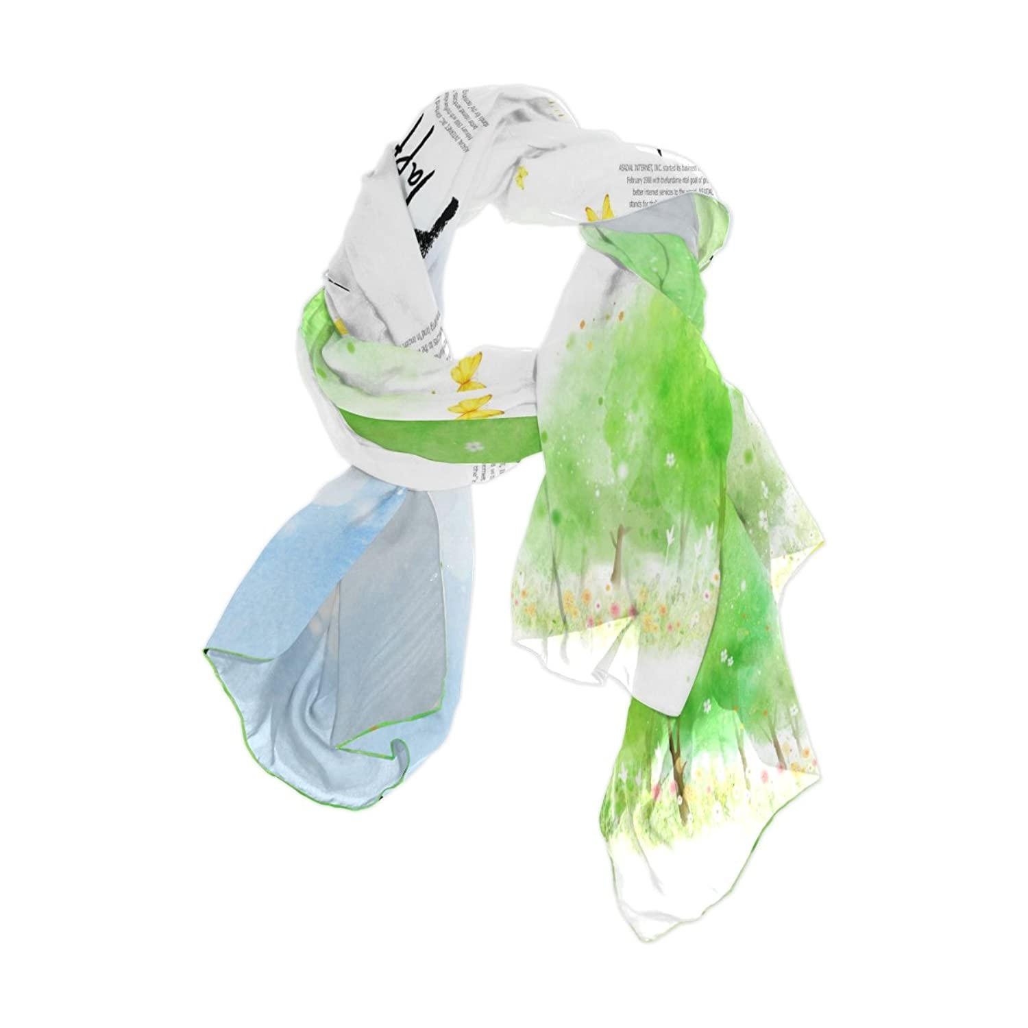 Ablink Happy Life Sheer Chiffon Scarf Various Style Accessory 70.86x35.4(inch)