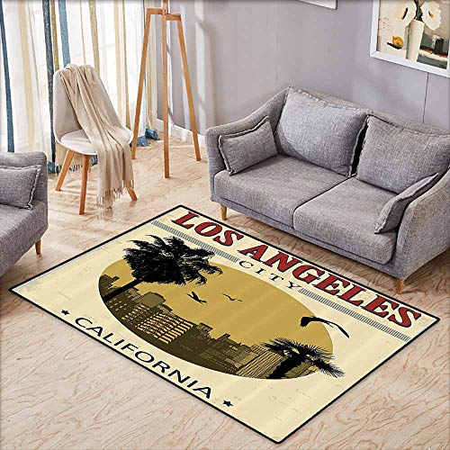 Custom Rug,Apartment Decor Collection,Los Angeles City from California in Vintage Style Birds Vacation Journey Design,Large Area mat,3'11