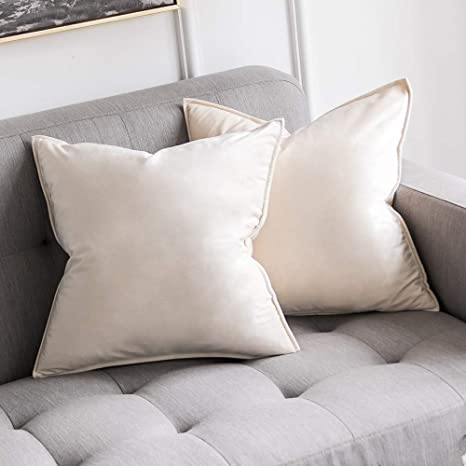 Velvet Throw Pillow Cases Cushion Covers with Hidden Zipper Beige-60x60cm