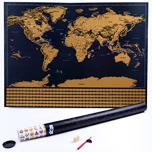 Scratch Off World Map Poster - with US States and Country Flags - Perfect Gift for Travel Enthusiasts - Includes Guitar Pick, Scratcher, Eraser, and Exciting Stickers