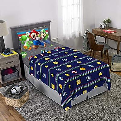 Nintendo Super Mario Kids Bedding Soft Microfiber Sheet Set, Twin Size 3 Piece Pack