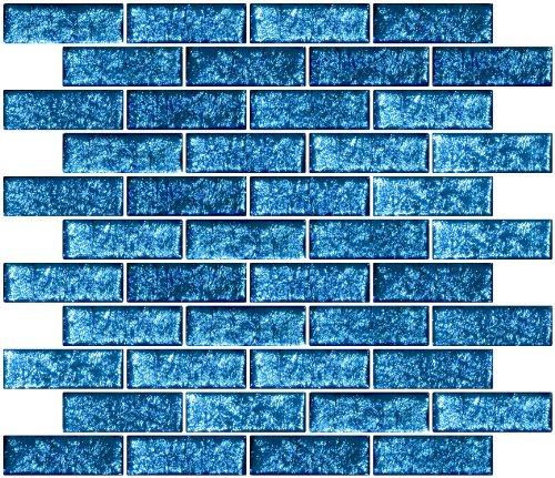 Susan Jablon Mosaics - 1x3 Inch Sapphire Teal Blue Dichroic Glass Subway Tile Reset In Running-brick Layout (Glass Dichroic Mosaic)