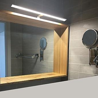 BAYTTER 8W LED Spiegelleuchte Bilderleuchte Schranklampe Wandleuchte aus  Aluminum silber, warmweiß IP44, Badezimmerlampe Badlampe Spiegel Wand ...