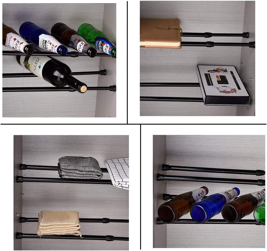 EXLECO 6 Pezzi Asta per Tende Telescopico Bastone per Tenda 70-120cm Asta Tenda Doccia con Molla a Tensione Bacchette per Tende Regolabile Bastone Tenda Estensibile Tende da Doccia Nero