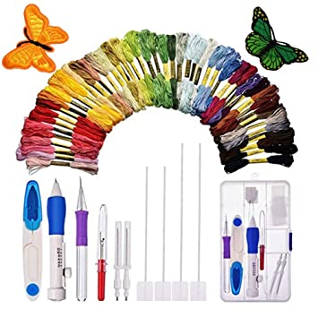 Embroidery Pen Punch Needles Stitching Punch Needle Embroidery Kit Craft Tool Set with 50 Colors Threads for Sewing Knitting DIY
