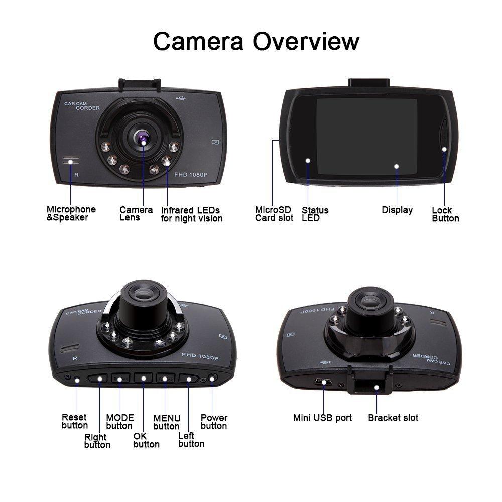 c/ámara de seguridad para el salpicadero 2,7 Inch LCD detecci/ón de movimiento grabadora de v/ídeo CAM 170 gran angular con visi/ón nocturna sensor G C/ámara DVR HD 1080P para salpicadero de coche