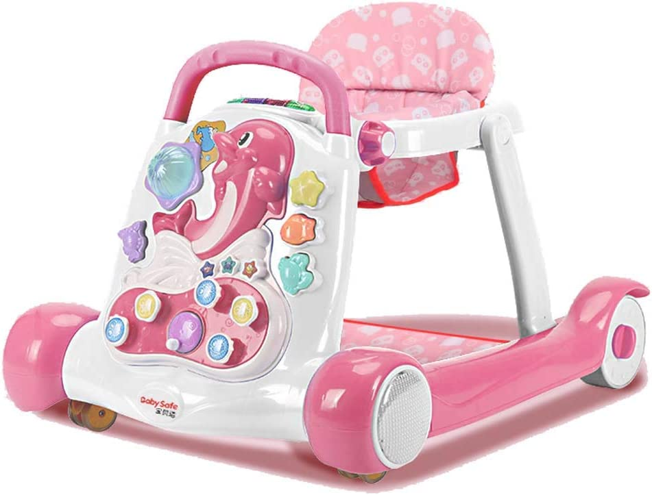 Baby Walkers with Universal Wheels and Easy Clean Tray Anti Rollover Folding Toddler Walker With music Maximum Load 15 kg for Girls and Boys,#2