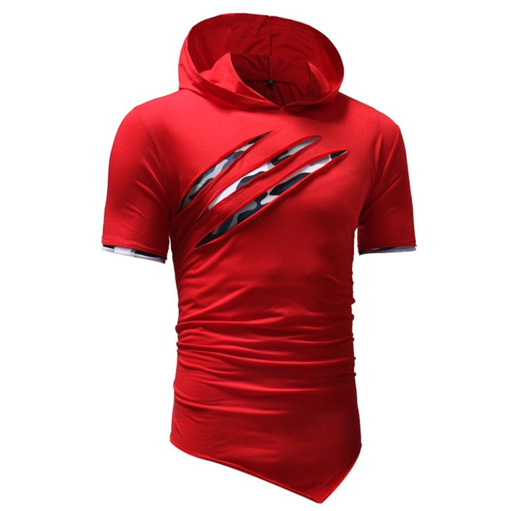 d48ee0b8 Mose Men's Hooded T-Shirt Personality Pure Color Hoodie Sport Short Sleeve  Shirt Top Blouse: Amazon.in: Clothing & Accessories