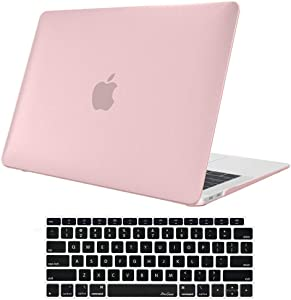Skyera 13 Inch MacBook Air Case & Keyboard Cover - Rubber Hard Shell for Mac Laptop A1932 New 2018 Release for Apple MacBook Air 13 Inch with Retina Display fits Touch ID(Pink)