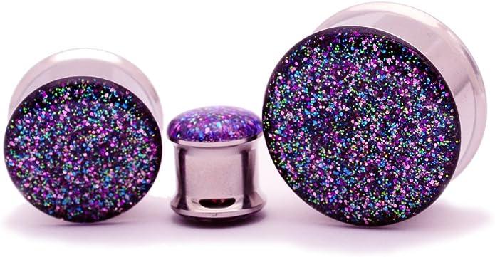 Single Flare Milky Way Black Holographic Glitter Sparkle Plugs 9 16 14mm Gauges 916 14mm Plugs LAST One!