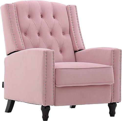 Artechworks Tufted Velvet Pushback Manual Recliner Chair