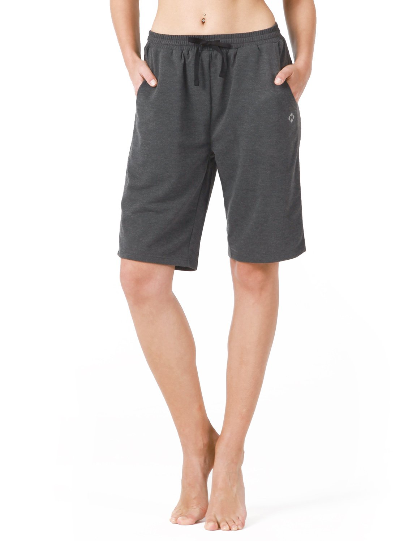 Naviskin Women's Active Fitness Yoga Shorts Bermuda Shorts With Big Pockets Grey Size L