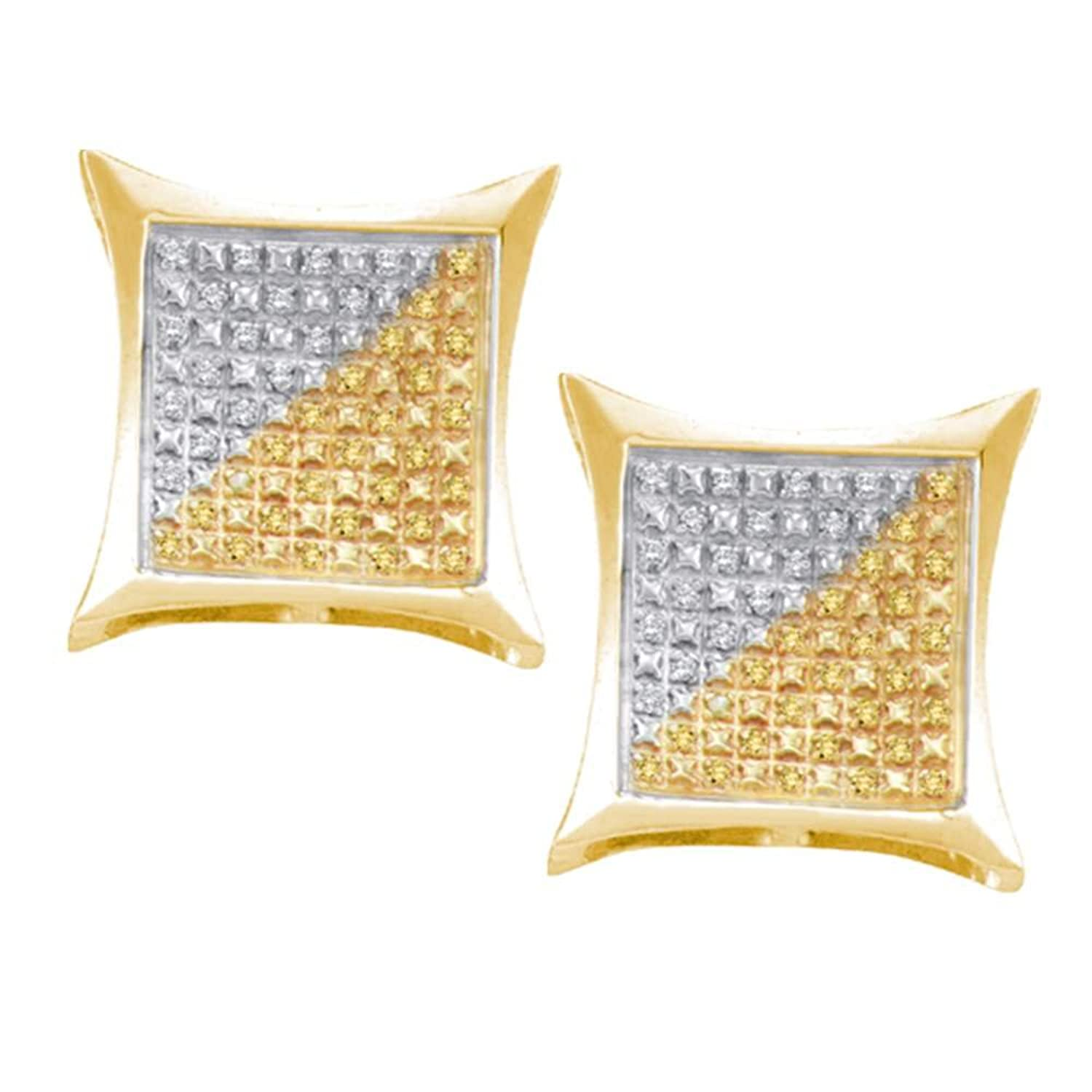 Yellow-tone Sterling Silver Mens Round Color Enhanced Diamond Square Kite Clusters Earrings 1/4 Cttw