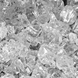 Fire Glass for Fire Pits Clear 1/2'' Fireplace Glass Pellets Crushed Ice (80lbs)