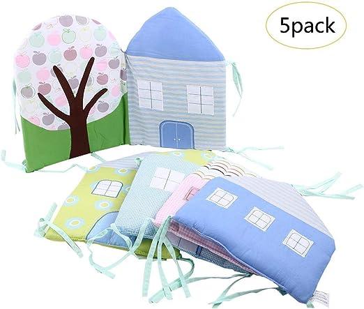 4pcs Set protector cuna,Baby Cot Bumper Wrap Around Protecci/ón para la cama del beb/é con Head Guard 100/% hipoalerg/énica ,cHouse Shape