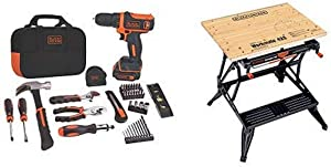 BLACK+DECKER 12V MAX Drill & Home Tool Kit, 60-Piece (BDCDD12PK) with BLACK+DECKER WM425-A Portable Project Center and Vise
