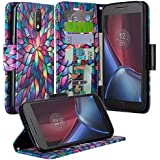 Moto G4 / G4 Plus Case, Moto G4 / G4 Plus Wallets, Wrist Strap Flip Folio [Kickstand] Pu Leather Wallet Case with ID&Credit Card Slot For Motorola Moto G 4th Generation / Moto G Plus, (Rainbow)