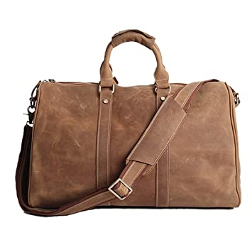 Amazon.com   AKGOO Real Leather Duffel Bags For Men Weekender Overnight  Travel Carry On Luggage Bag Handbag Holdall Brown   Travel Duffels 2ab81b5232