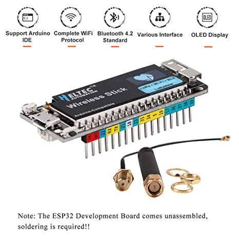 MakerFocus ESP32 Development Board with 0 49inch OLED Display Support LoRa  WiFi Bluetooth BLE Arduino, 240MHz ESP32 SX1276 LoRaWAN 64M-Bits Flash with