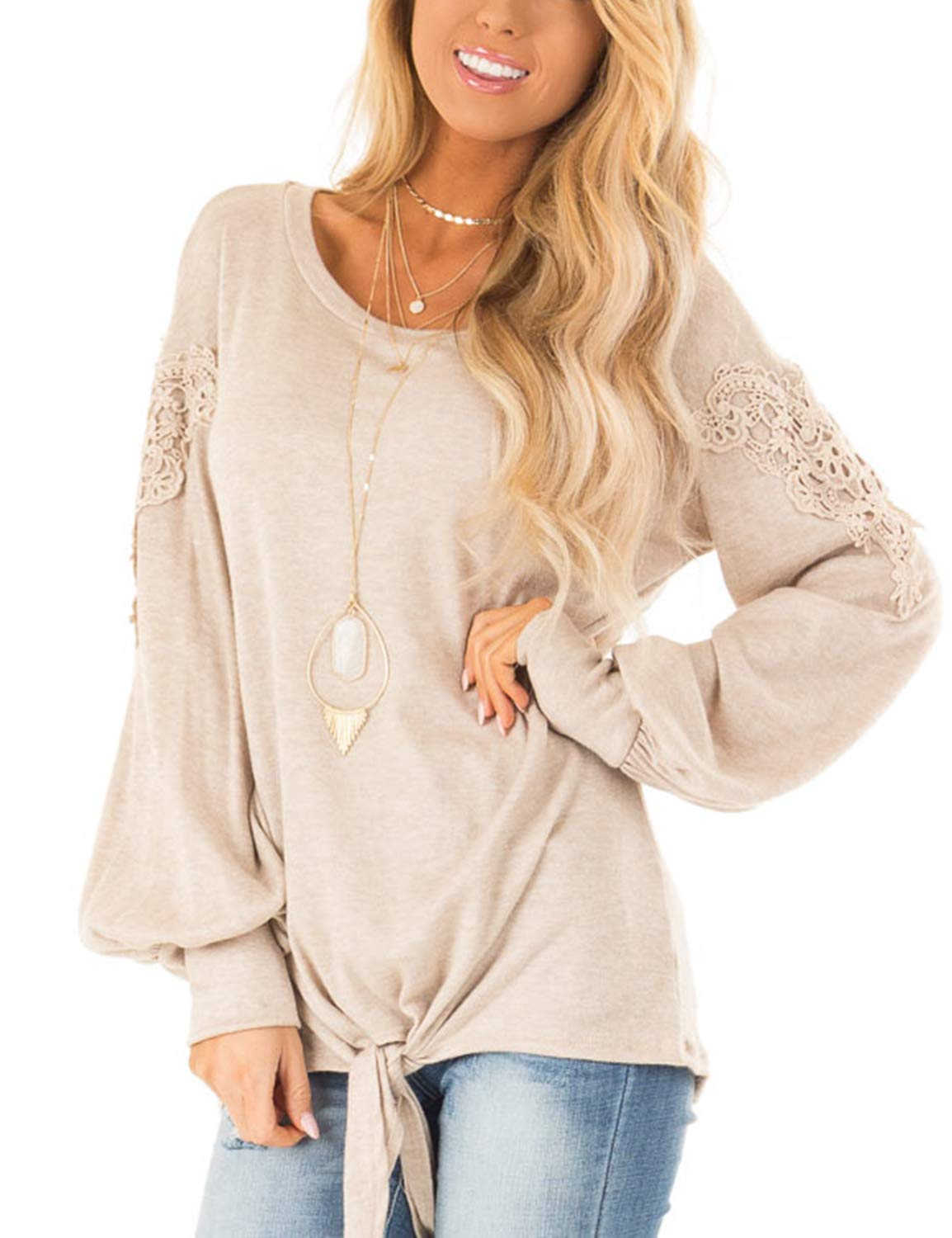 Blooming Jelly Womens Long Sleeve Round Neck Lace Knit Casual Shirt Top Beige