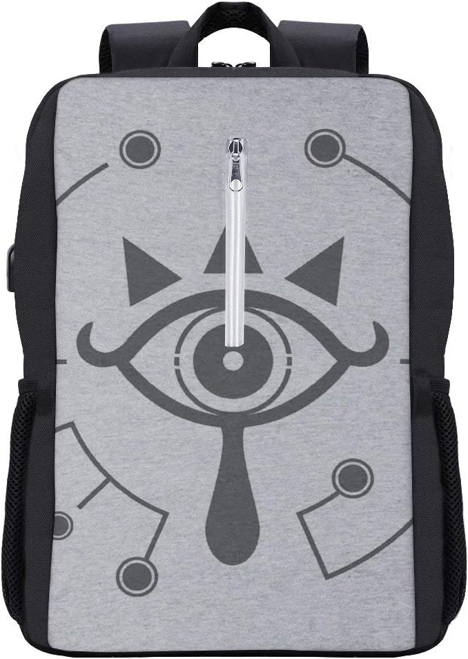 Legend of Zelda Breath of The Wild Sheikah Eye Backpack Daypack Bookbag Laptop School Bag with USB Charging Port
