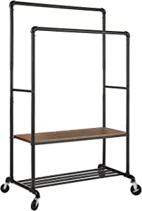 Greenstell Clothes Rack with Shelves, Industrial Pipe Style Rolling Garment Rack, Heavy Duty Double Rods Clothes Hanging Rack, Adjustable Height Durable Coat Rack for Organizing Clothes and Shoes
