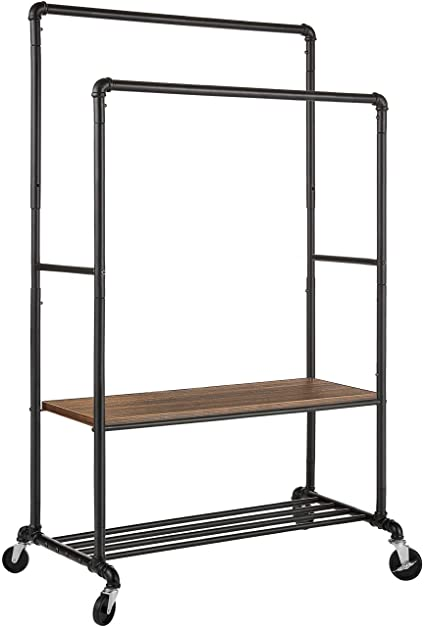 Greenstell Garment Rack with PVC Cover on Wheels,Heavy Duty Adjustable Clothing Rack with Extendable Hanging Rail and Two Hooks,Chrome Large Size