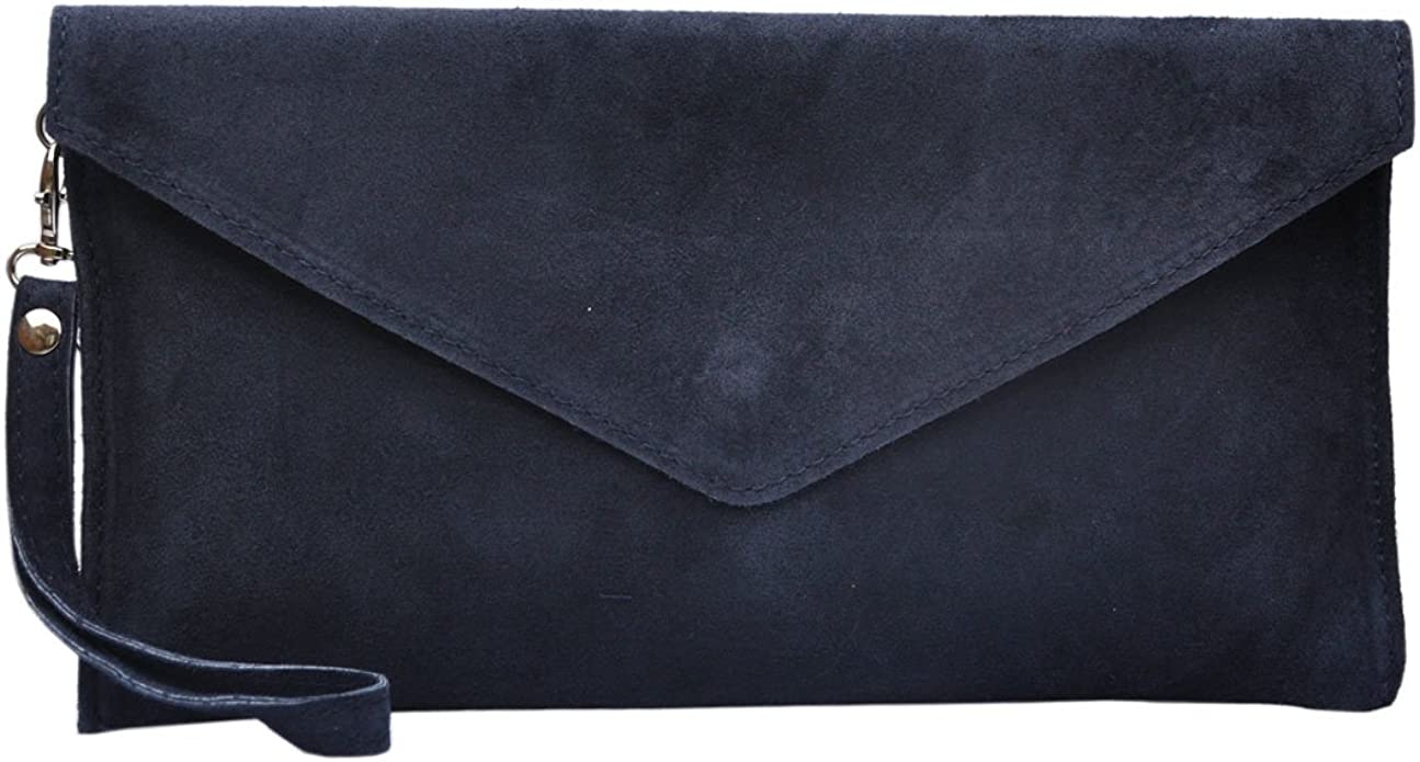 New Womens Genuine Italian Suede Leather Clutch Party Wedding Envelope Bag (Navy Blue)