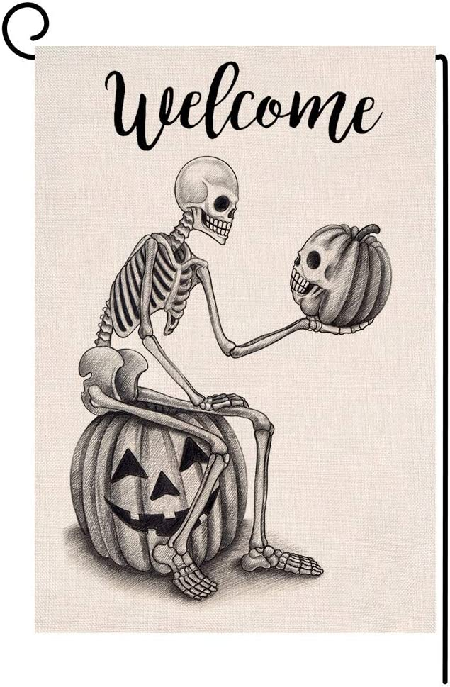 BLKWHT 103449 Welcome Halloween Skull Pumpkin Small Garden Flag Vertical Double Sided 12.5 x 18 Inches Sitting Skeleton Burlap Yard Outdoor Decor